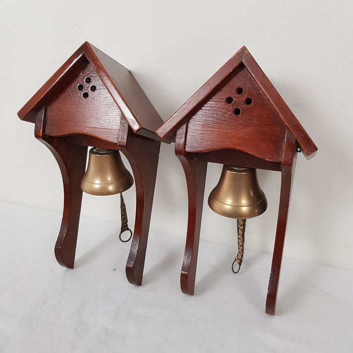 Two copper (door) bells - copper, wood