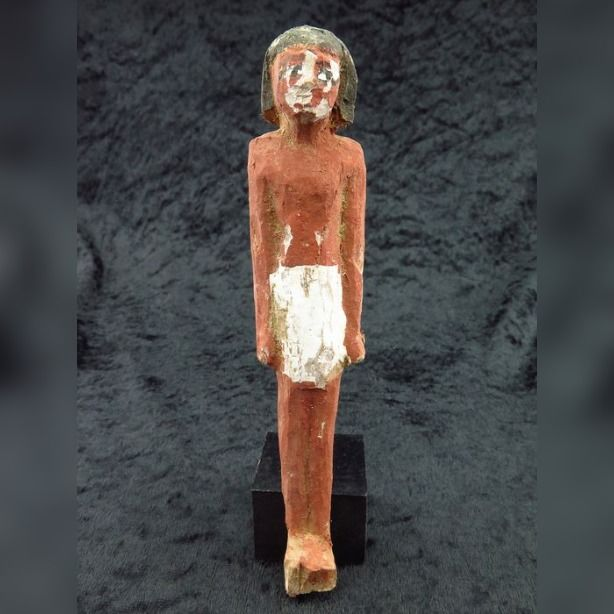 Ancient Egyptian polychrome wooden figure - 13.5×3×2.5 cm - (1)