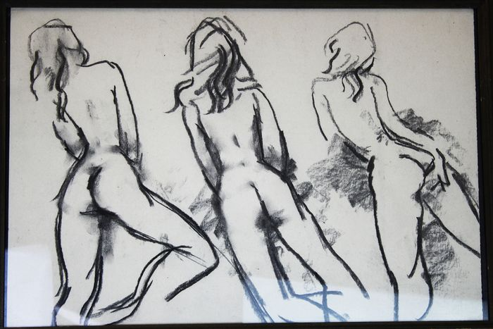 Peter Collins drawing - Triple nude