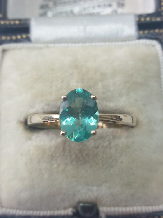 375 Yellow gold - Unusual natural Green Apatite solitaire gold ring - 1.27 ct