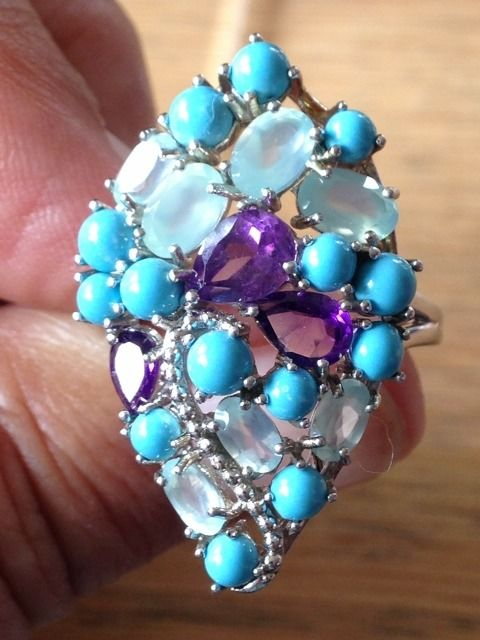 Turquoise-Amethyst-Topaz 925 silver ring - 6.5 g - (1)