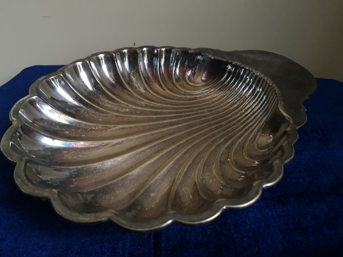 Wonderful, large, silver plated coupe shaped as a shell - Silver plated 8GR