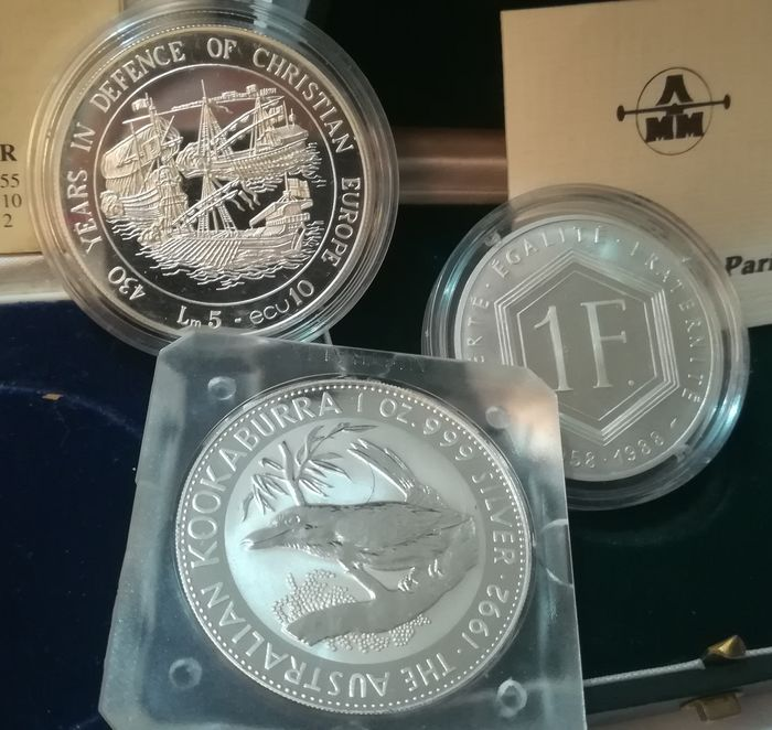 World - Lot of 3 commemorative coins 1988/1993 - Silver