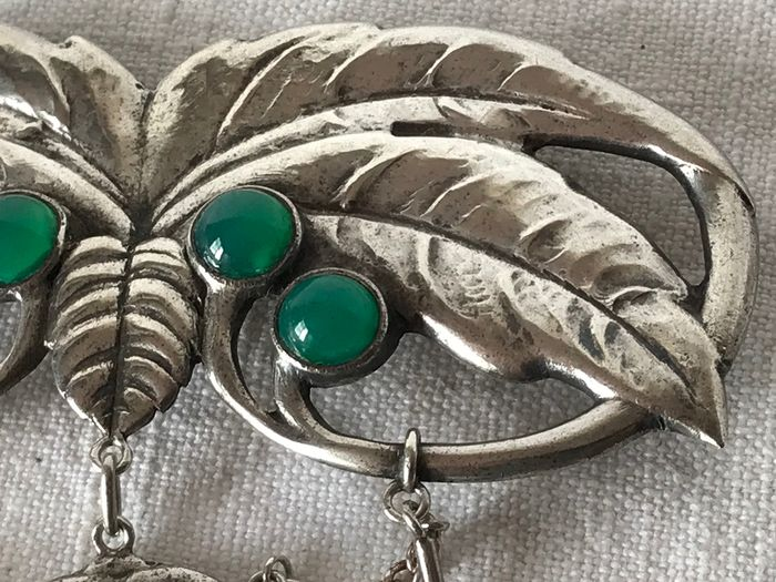 826 Silver - Danish Art Nouveau Silver and Jade Brooch
