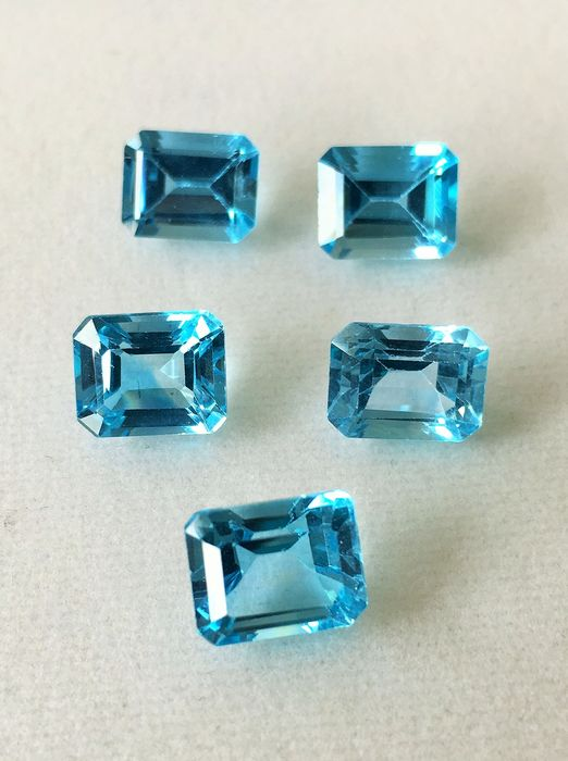 5 pcs Blue, - No Reserve - Topaz - 22.09 ct