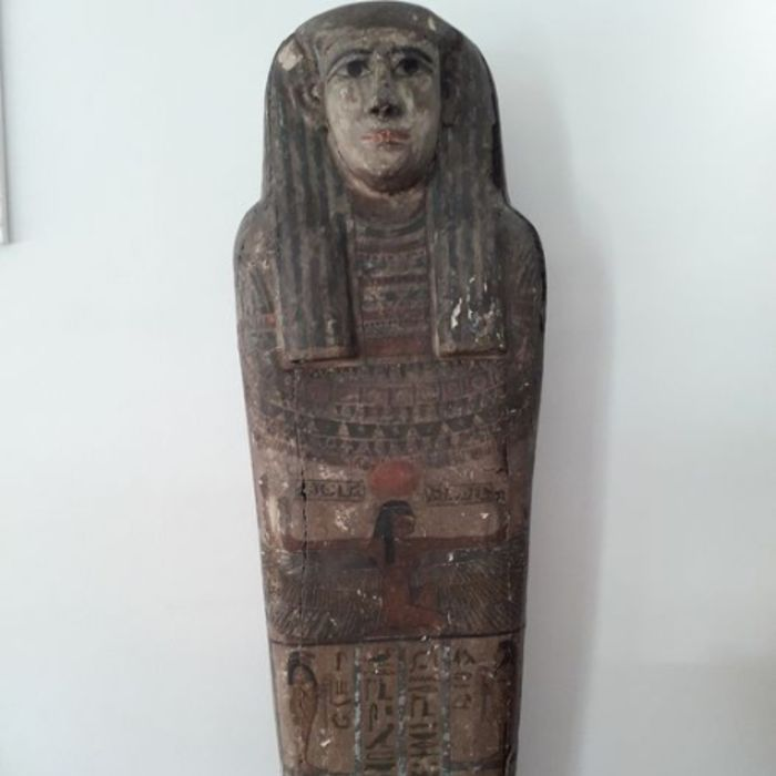 Ancient Egyptian Wood Rare Sarcophagus Cover - for the Lady Neith-Em-Has Daughter of Psammetique or Psamtik 26th Dynasty - 155×45 cm - (1)