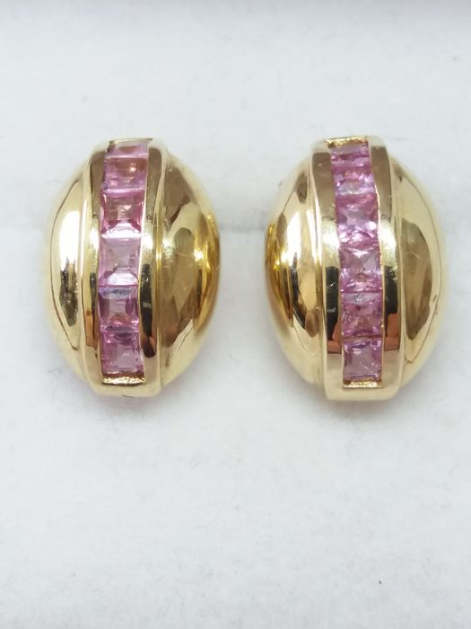 9k/9ct - Natural Pink Sapphire Coffee Bean Shaped Earrings