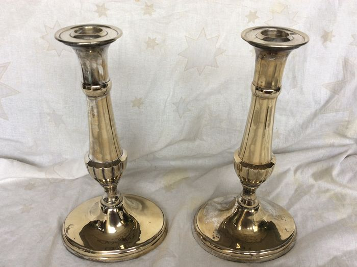 2 silver-plated / gold-plated candlesticks (2) - Silverplate
