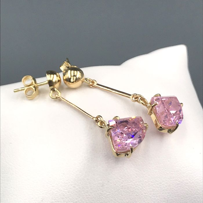 18 kt. Yellow gold - Earrings - 17.60 ct Rose quartz