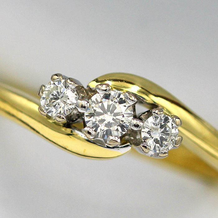 18 kt. Yellow gold - Ring - 0.25 ct Diamond