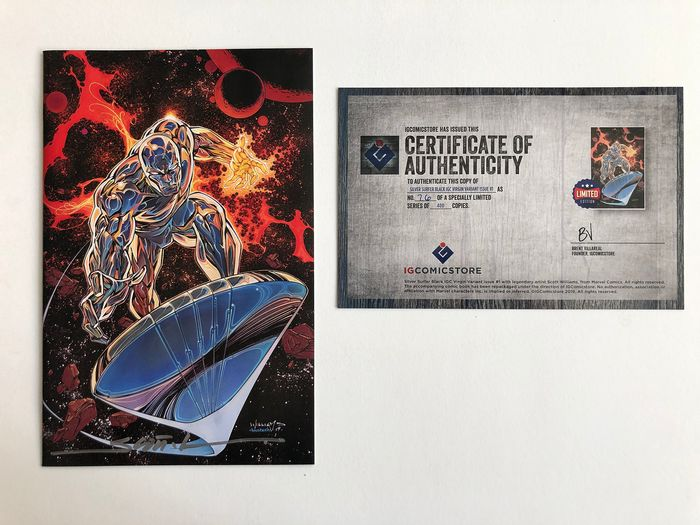 The Silver Surfer Black #1 - Ultra Rare Scott Williams Virgin Variant - No Title & No Logo -  Signed & Numbered - Extremely High Grade!! - Only 400 copies!! - Softcover - Erstausgabe - (2019)