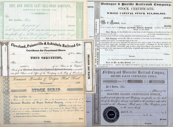 USA - Lot of 5 Early Railroad Company Stock Certificates - 1850s-1860s
