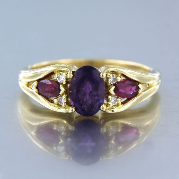 18 kt. Yellow gold - Ring - 0.05 ct Diamond - Amethyst, Ruby