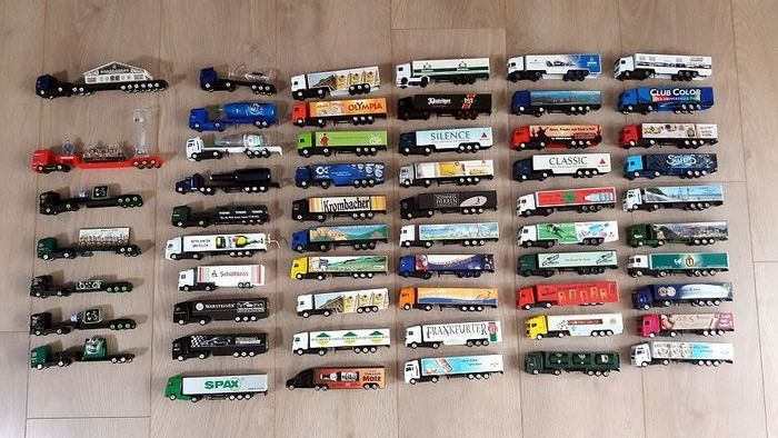 High Speed, Wörlein,  Grell  ca. 1:87 - Truck collection with 57 pieces of advertising trucks many rarities and special models - Die casting / plastic
