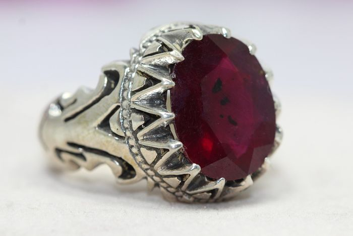 925 silver - Ring - 6.00 ct ruby