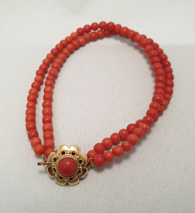 14 karat red coral, beautiful gold bracelet with excellent red coral, Gold - Bracelet Red Coral - Red Coral