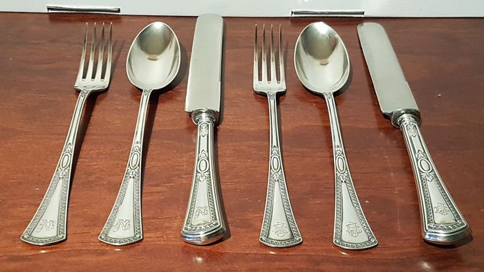 2 Cutlery Sets (6) - 916 silver, 349.9 g. - Jaime Vachier - Spain - Late 19th century