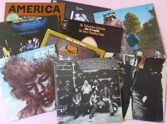 Set of 10 of the best albums of 1970 (total 14 up's) - Multiple artists - Stones, CSN&Y, Allman Brothers, Jimi Hendrix, Bangladesh etc - LP's - 1971