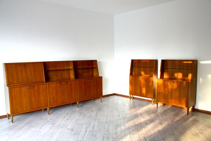 Credenza, with brass hinges and teak veneer (3)
