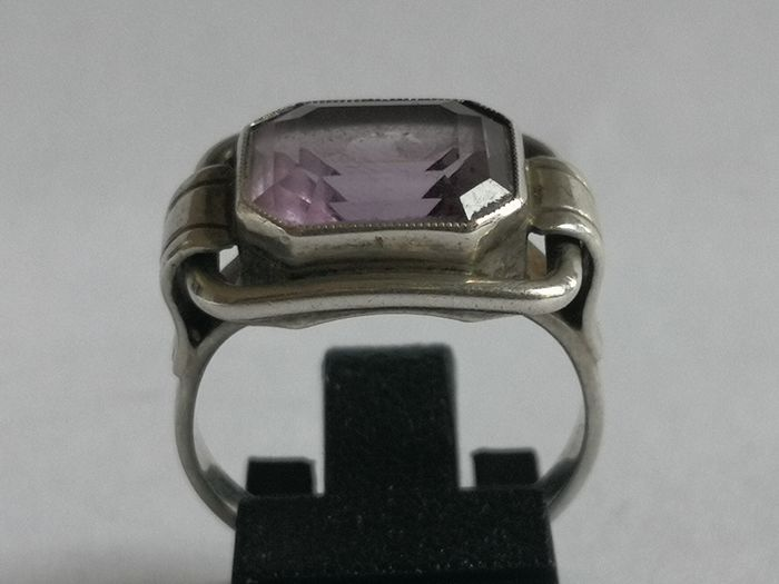 Art Deco - 835 silver - ring - 4.09 ct - amethyst
