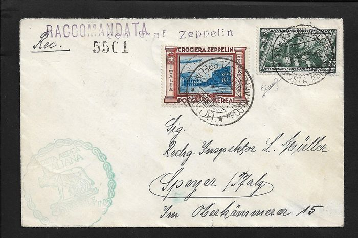 Italy Kingdom - Zeppelin cruise, registered mail sent via airship, stamped with L.20 Zeppelin + others. - Sassone N. 50.