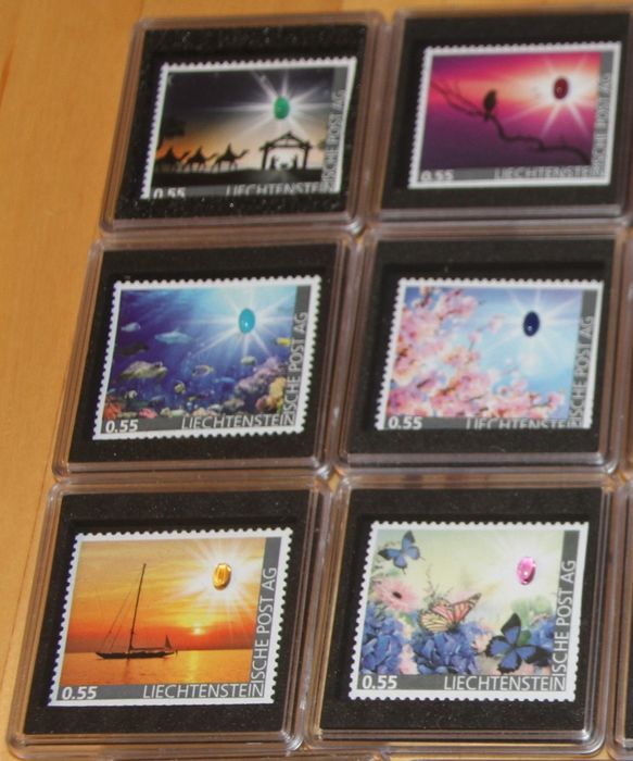 Liechtenstein 2017 - 18 postage stamps with different stones and motifs