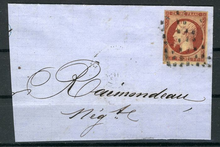 Frankrijk 1849 - Napoleon III  1Fr, in a piece of  letter