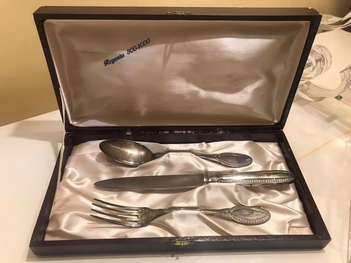 Tris antique cutlery - .800 silver - Italy - mid 20th century