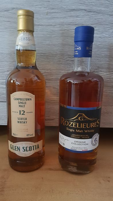 Glen Scotia 12 years old & Rozelieures Origine Collection - Official bottling - 70cl - 2 bottles