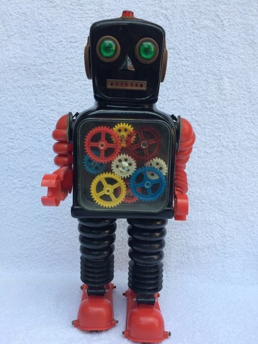 Taiyo - Beautiful large antique Blink-a-Gear robot