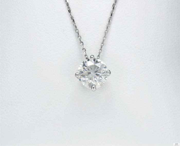 14 kt. White gold - Necklace with pendant - 1.50 ct Diamond - No Reserve Price