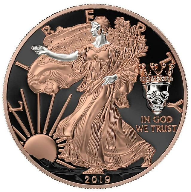 "United States - 1 Dollar 2019- American Eagle - ""Memento Mori""-King's Skull-  - Gold Plated 1 oz - Silver"