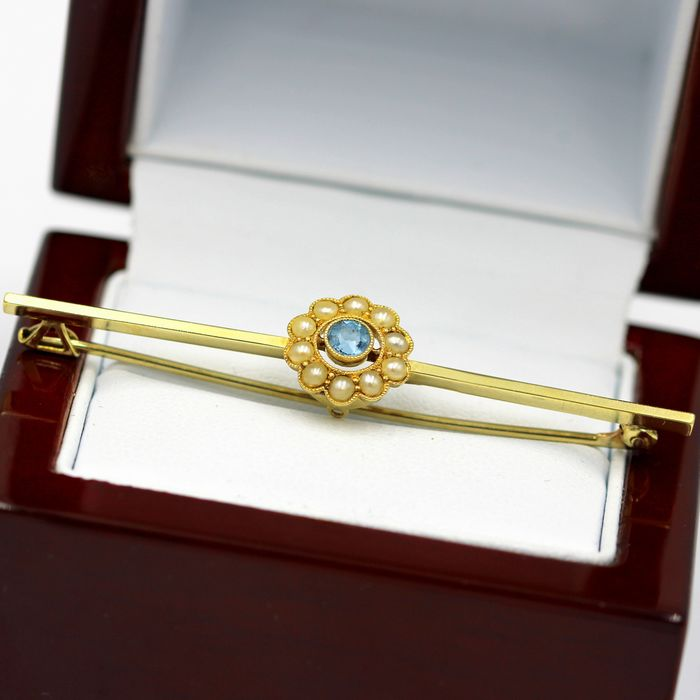 15 kt. Yellow gold - Brooch - 0.15 ct Topaz - Pearls