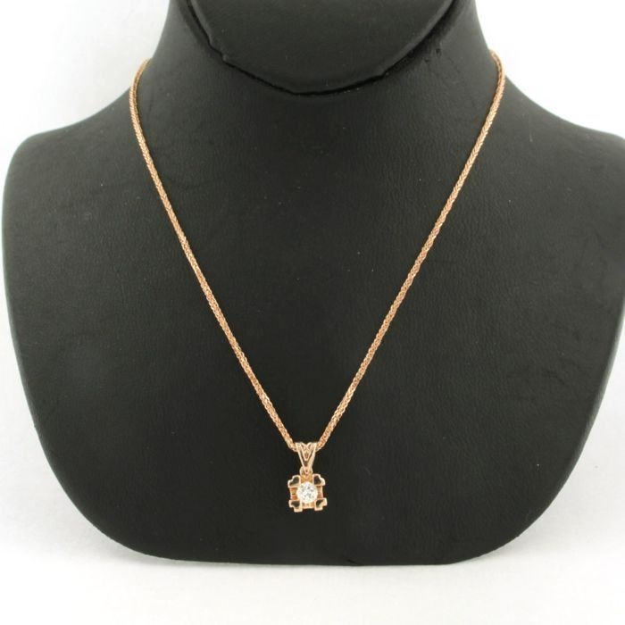 14 kt. Pink gold - Necklace with pendant - 0.15 ct Diamond