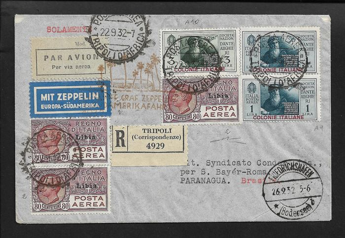 Italy Kingdom 1932 - Zeppelin aerogramme, 7th Flight South America/Tripolitania - Sassone N. 2, A9, A10.