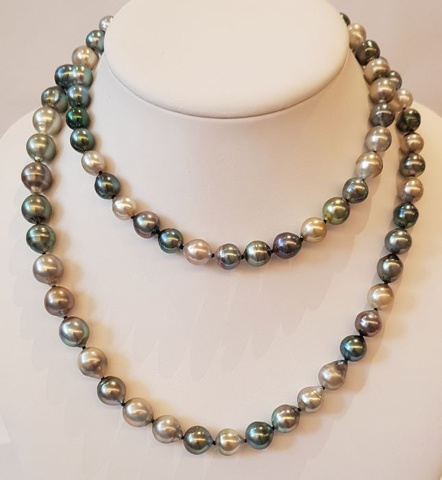 NO RESERVE PRICE - 925 Argent - 8.5x11mm Multi Colour Tahitian Pearls - Collier