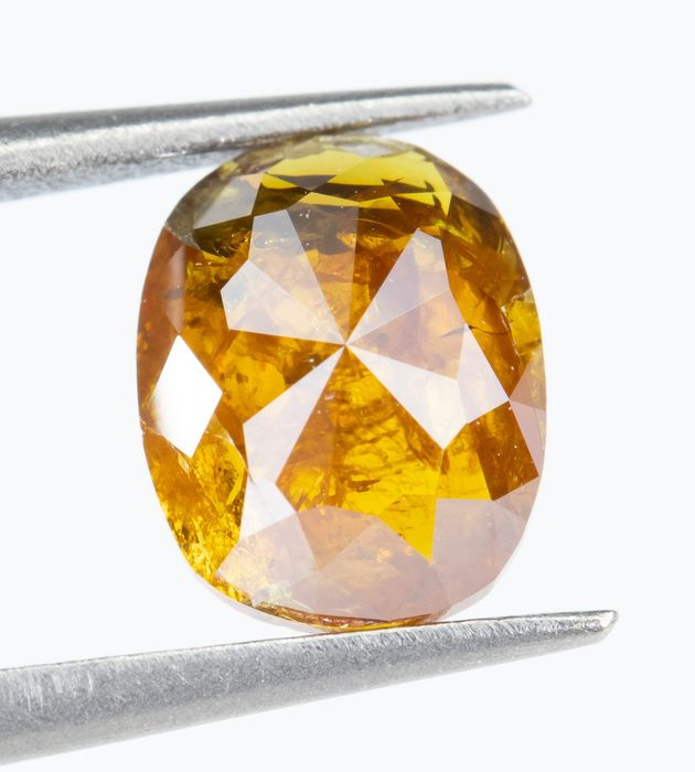 Diamant - 0.73 ct - Natural Fancy DEEP Brownish Orange-Yellow - I2  *NO RESERVE*