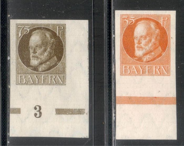"""Bavière 1919 - """"Ludwig"""" 35/75 pf, imperforate, without overprint - Michel 134/35 BI"""