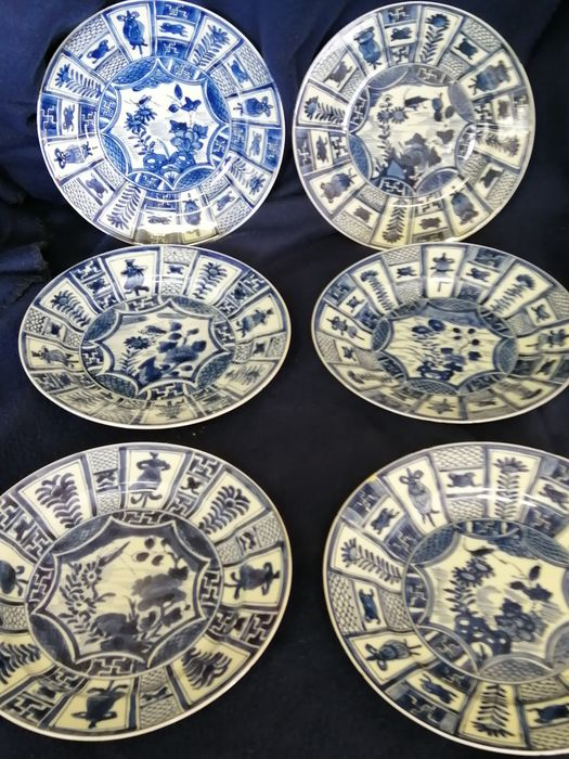 Plates (6) - Kraak porcelain - Porcelain - Asia - 18th century