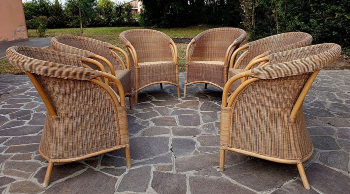 Set of six Vintage wicker chairs with bamboo structure - Wicker
