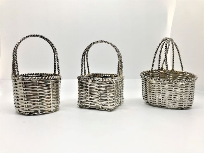 Trio of braided baskets - Silver plated