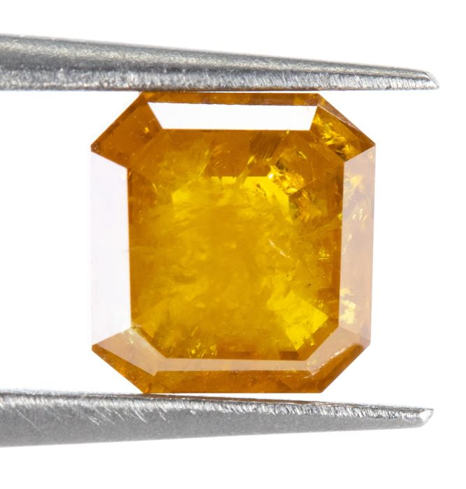 Diamant - 1.00 ct - Natural Fancy Brown-Orangy Yellow - I3  *NO RESERVE*