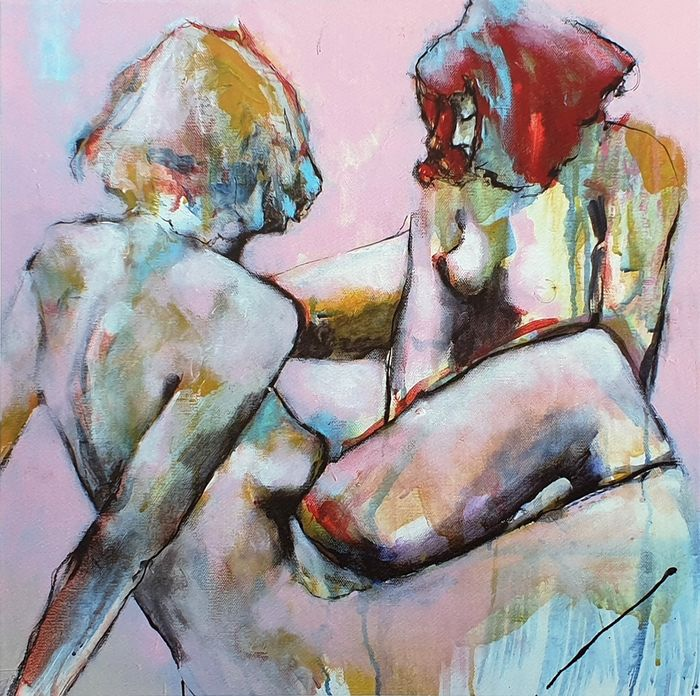 Laurent Bergues - Carré fauve, couple plage