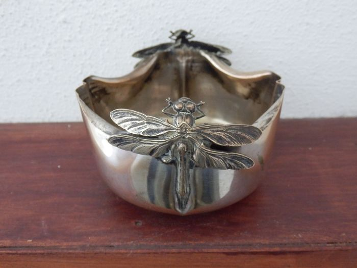 Bowl with dragonflies - Silver-plated - Belgium - early 20th century