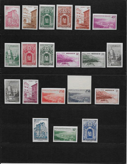 Monaco 1939/1941 - Views of the Principality complete set. Imperforated, 20 values - Yvert 169a/183a