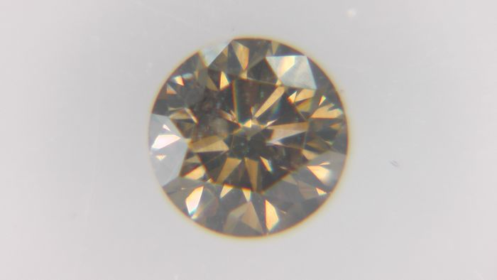 1 pcs Diamond - 0.25 ct - Στρογγυλό - Fancy Yellowish Greenish Brown - SI2, No Reserve Price!