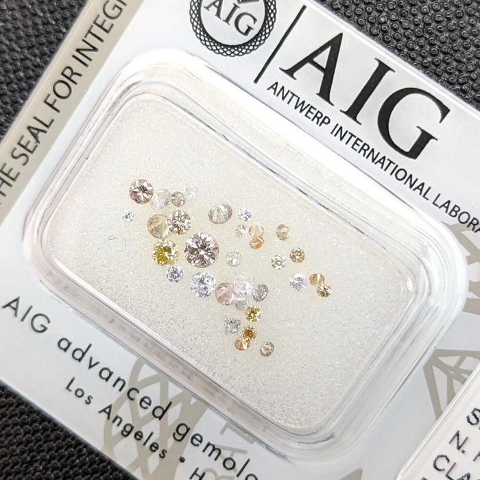 Diamanten - 0.52 ct - Brillant - Fancy Mix Color - SI1, SI2, VS1, VS2, VVS1, VVS2, No Reserve Price