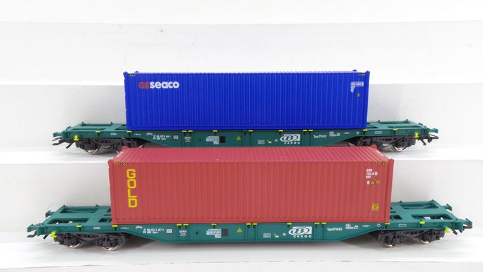 B-Models H0 - 45.100 - Freight wagon set - 2-part set of container wagons type Sgns with load - NMBS