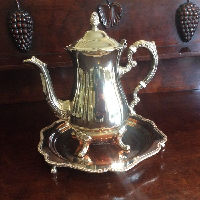 Large Coffee Pot and Round footed Serving Tray - Silverplate