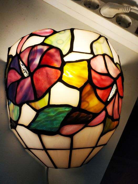 Tiffany - Perenz - Muurlamp (2) - Art Deco - Glas (glas-in-lood), Messing